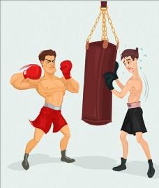 手绘卡通拳击手插图