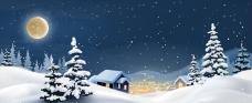 写实风格山村雪景