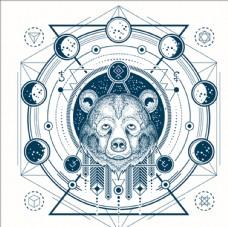 熊头和月相的几何纹身