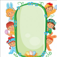 复活节穿不同服装的小孩子