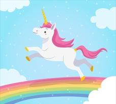 独角兽在彩虹中跳跃