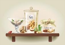 木架子上的坚果玻璃罐