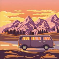 夕阳下的山脉景色