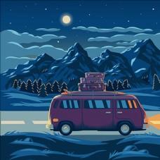 夜晚下的山脉景色