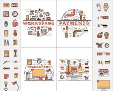 线条电子商务艺术插图