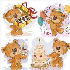 可爱的泰迪熊祝你生日快乐