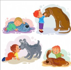 卡通和小狗一起玩的男孩
