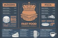 复古西式快餐餐厅菜单