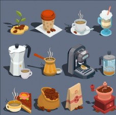 等距立体三维咖啡工具插图