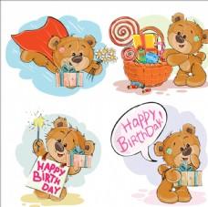棕色泰迪熊祝你生日快乐