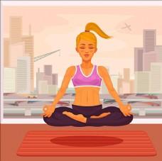 练瑜伽的女孩插图