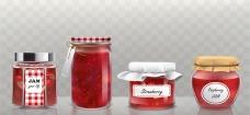 一组写实风果酱玻璃罐插图
