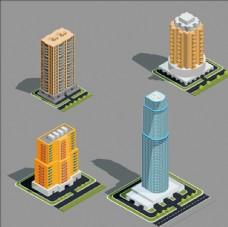 等距三维现代城市建筑插图