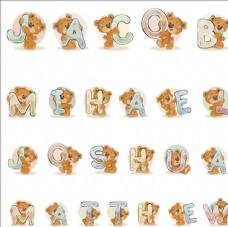 卡通泰迪熊英文字母