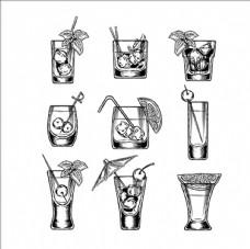一组手绘鸡尾酒杯