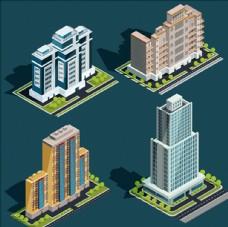 等距立体现代城市建筑插图