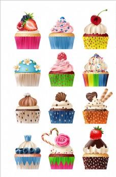 一组美味的甜点插图