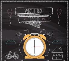学校黑板上的闹钟