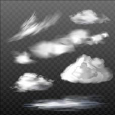 一组不同类型的半透明云