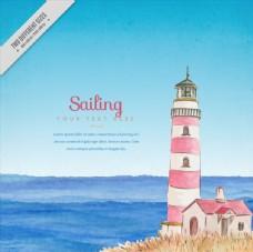 粉色条纹灯塔和大海矢量素材