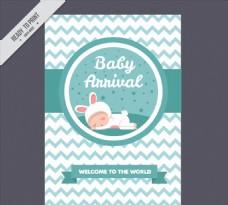 可爱婴儿迎婴卡片矢量素材