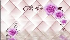 3D软包玫瑰背景墙