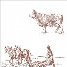 田园村庄 民间插画素材 牛