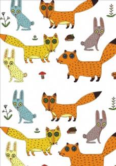 卡通狐狸花朵蘑菇四方连续底纹