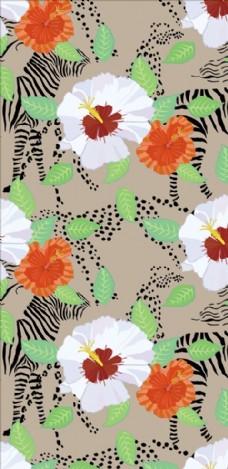 斑马纹花朵花卉四方连续底纹