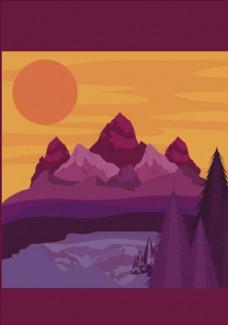 树林山峰落日矢量图下载