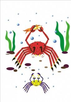手绘卡通螃蟹矢量图下载