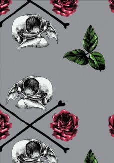 花朵花卉骷髅四方连续底纹