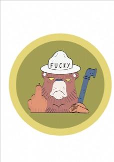 手绘卡通熊矢量图下载