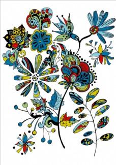 手绘植物花朵花卉花纹矢量图下载