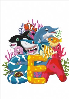 卡通海洋生物矢量图下载