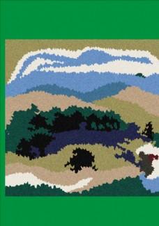 森林蓝天白云矢量图下载