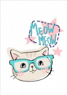 卡通眼镜猫头矢量图下载