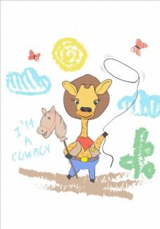 卡通长颈鹿儿童画矢量图下载