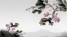 复古水墨画茶几面 背景墙 移门