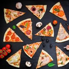 切开的蔬果披萨