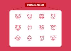 12生肖icon图标设计