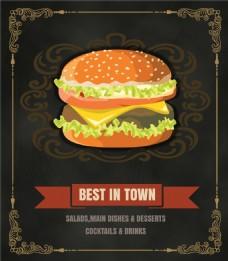 时尚金边手绘汉堡包海报展示矢量EPS素材