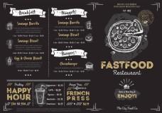 黑色矢量餐厅菜单展示