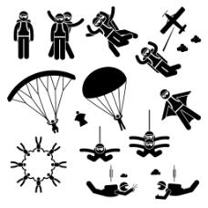 经典黑白圆头小人与降落伞