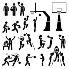 经典黑白圆头小人篮球