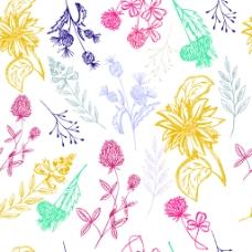 手绘水彩小清新花朵矢量素材
