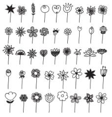 手绘黑白线条花朵树叶桂冠矢量插画
