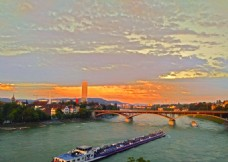 黄昏下的莱茵河