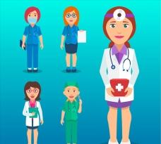 卡通专业女医生插图
