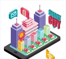 等距立体智能城市插图